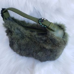 Isabella Fiore Fur Embelished Mini Bag Army green